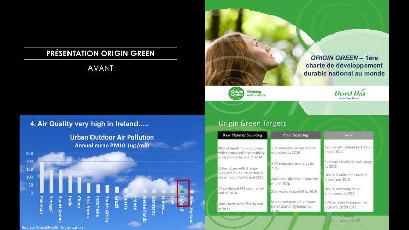 La présentation PowerPoint Origin Green avant modernisation